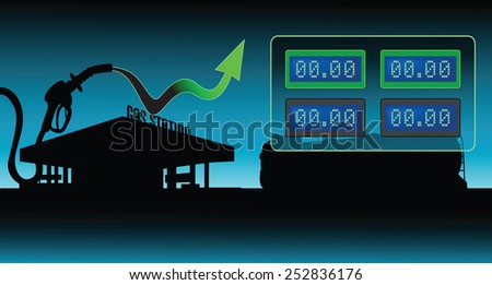 Diesel and gasoline price growth illustration Fuel pistol with green up arrow diesel and gasoline blank price display  oil tank truck and gas station silhouettes background - stock vector