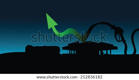 Diesel and gasoline price growth illustration Fuel pistol with green up arrow oil tank truck and gas station silhouettes in background - stock vector