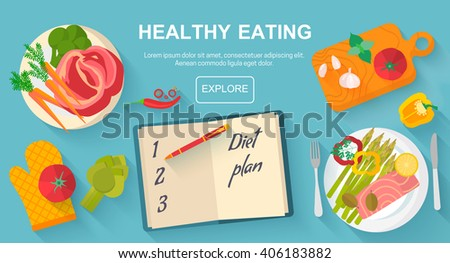 Diet and healthy eating food concept. Vector flat design icons elements isolated on white background. Healthy food. Food, diet, healthy lifestyle and weight loss banner concept.  - stock vector