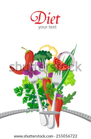 Diet. Background with vegetables and measuring tape - stock vector