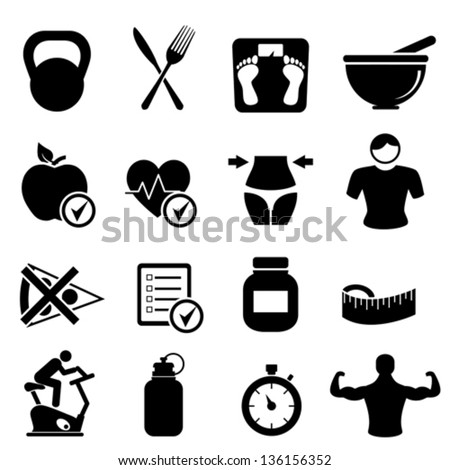 Diet, fitness and healthy living icon set - stock vector