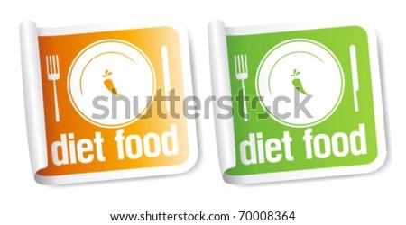 Diet Food stickers set. - stock vector