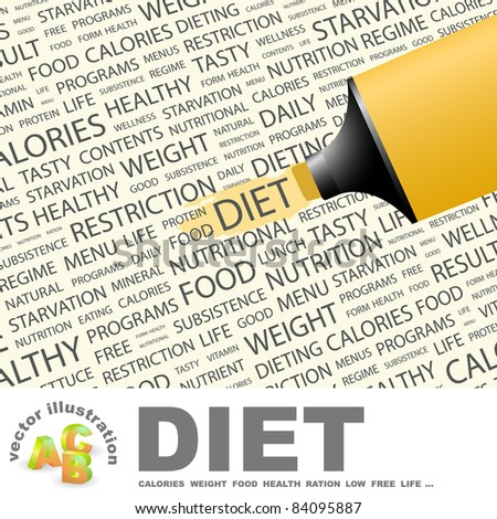 DIET. Highlighter over background with different association terms. Vector illustration.
