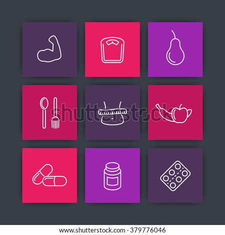 Diet icons, sport nutrition, fat loss, healthy food square icons set, vector illustration