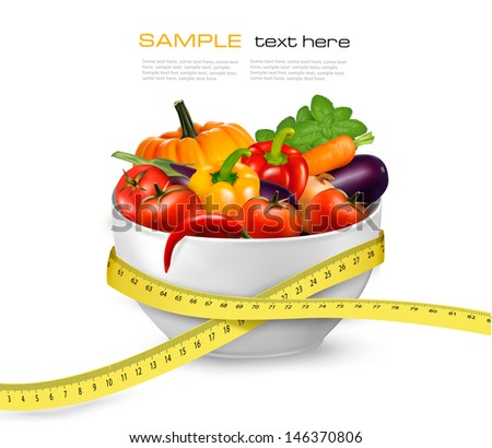 Diet meal. Vegetables in a bowl with measuring tape. Concept of diet. Vector illustration - stock vector