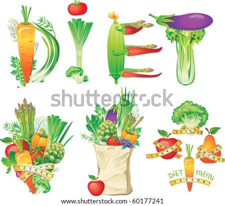 Diet menu concept - stock vector