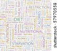 DIET. Seamless vector pattern with word cloud. Illustration with different association terms. - stock photo