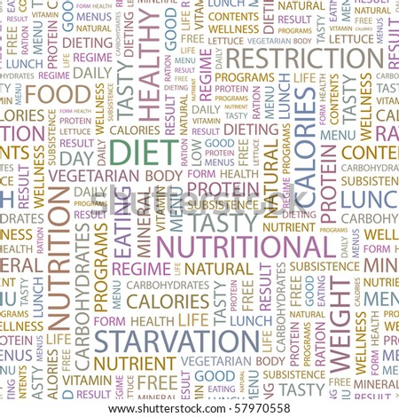 DIET. Seamless vector pattern with word cloud. Illustration with different association terms. - stock vector