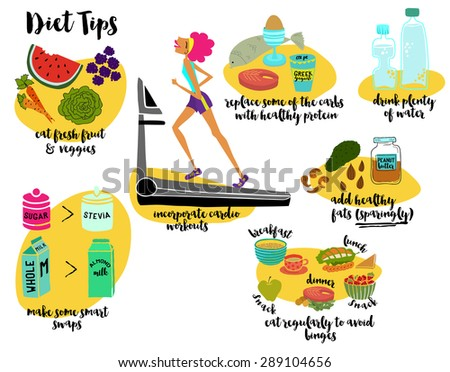 Diet Tips - Illustrated diet tips, recommending cardio workouts, fresh fruit and veggies, regular meals, healthy protein and fats, lots of water and replacing sugar. Hand drawn, cartoon style vector - stock vector