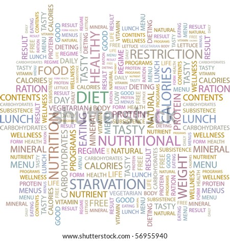 DIET. Word collage on white background. Illustration with different association terms. - stock vector