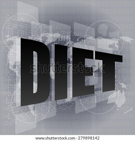 diet word on digital touch screen vector