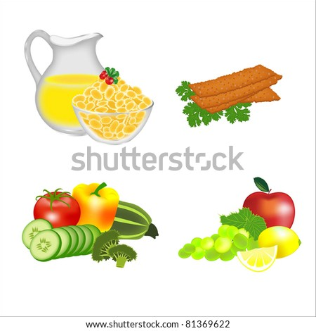 Dietary food: cereals, breads, fruits, vegetables - stock vector