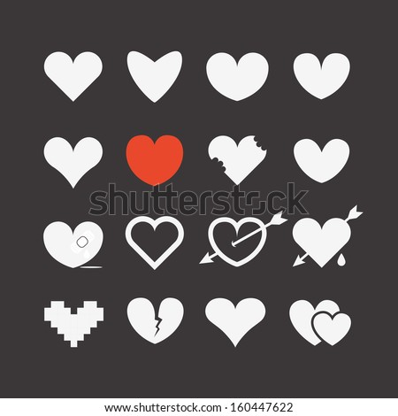 Different abstract heart icons collection - stock vector