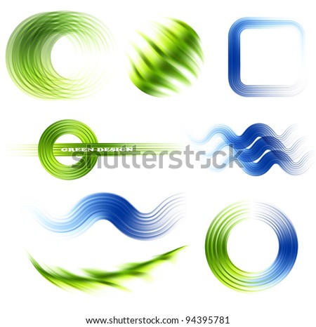 Different abstract logos and elements for design(icon). Blue and green set - stock vector