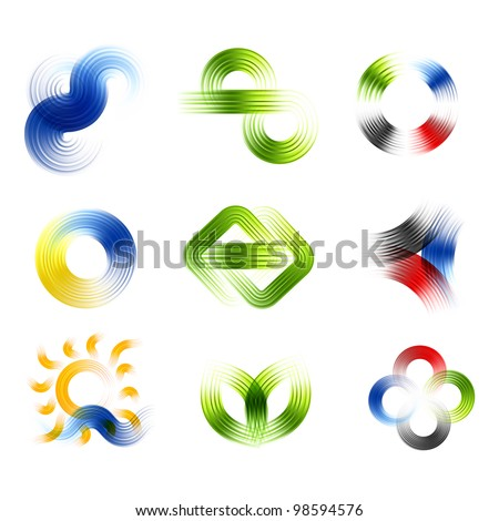 Different abstract logos and elements for design(icon). Vector set - stock vector