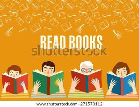 Different age cartoon  people reading books.Illustration. Vector background. - stock vector