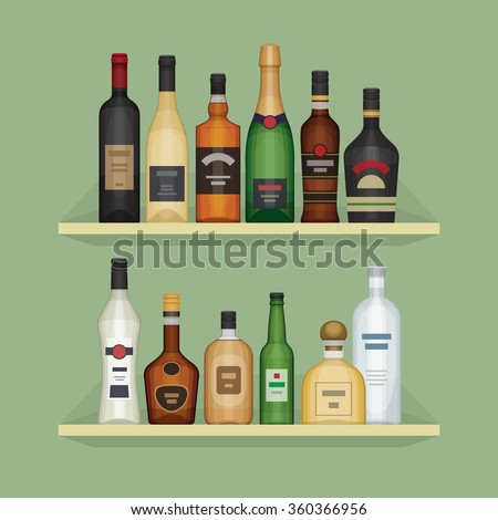Different alcohol bottle on the shelf. Alcohol drinks and beverages. Shelf with bottles at the bar. Flat design style, vector illustration.