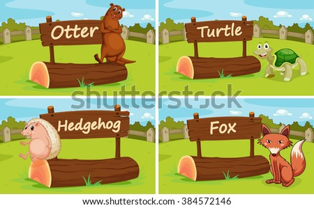 Different animals by the wooden sign illustration