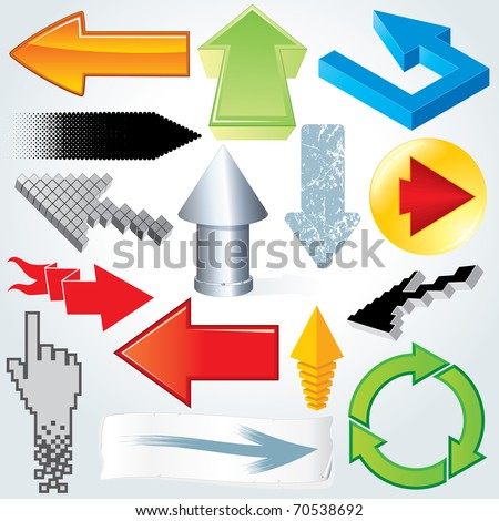 different arrows icons, signs, collection of various style vector design elements and symbols - stock vector