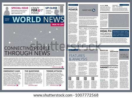Different Articles Newspaper Vector Design Template Stock Photo
