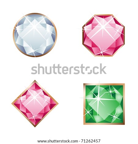 Different beautiful gemstone isolated on the white background - stock vector