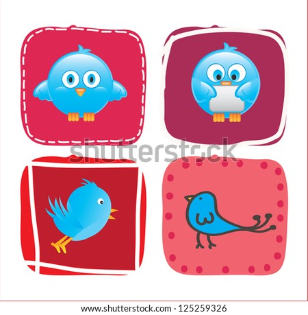 Different birds over pink square over white background - stock vector