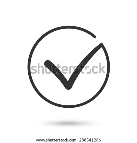 Different black and white vector check mark or tick in circle conceptual of confirmation acceptance positive passed voting agreement true or completion of task on a list. Flat illustration EPS10  - stock vector