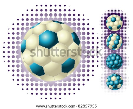 Different blue footballs on the halftone backgrounds - stock vector
