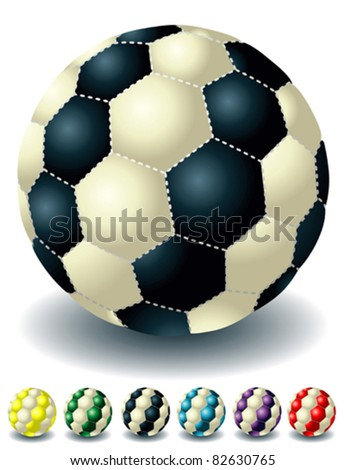 different bright isolated soccer balls - stock vector