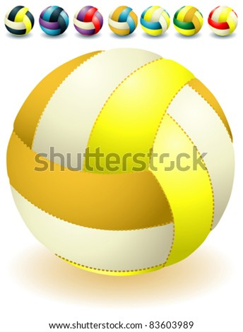 Different bright light isolated volleyballs - stock vector