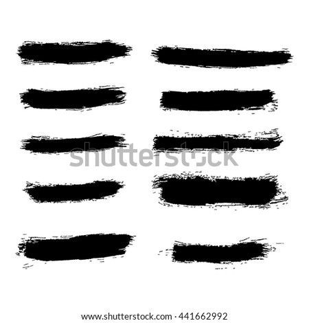 Different brush strokes on white background. Isolated objects. Set of design elements. Vector illustration. Easy to use and edit for banners, covers, cards, flayers. Hand drawn grunge style - stock vector