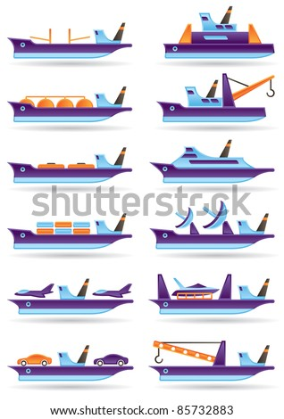 Different cargo ships icons set - vector illustration - stock vector