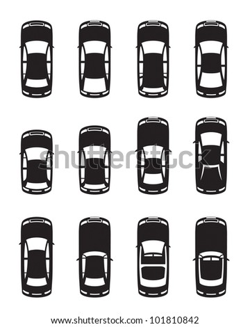 Different cars seen from above - vector illustration - stock vector