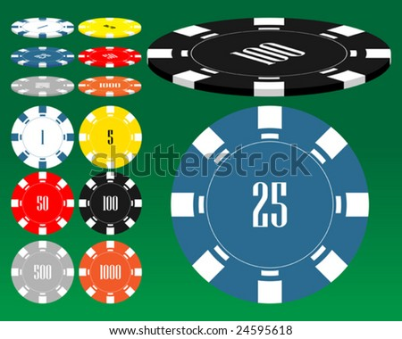 Different casino chips. To see similar please visit my gallery - stock vector