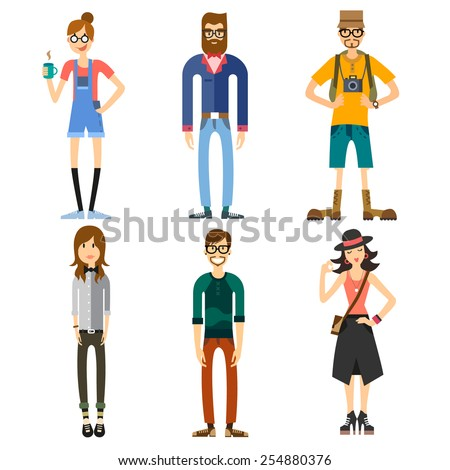 Different Characters of people, including hipster and tourist. Girls and boys. Fashion and Style. Vector flat illustration