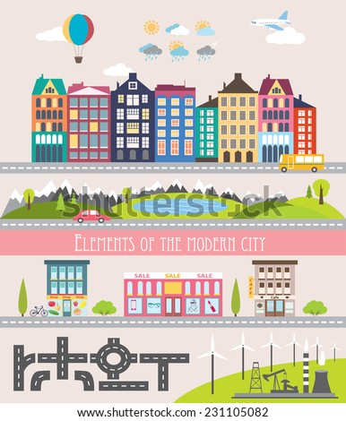 Different city elements for creating your own map. Easy to edit and recolor - vector object are separeted in layers and groups. Map elements for your pattern, web site or other type of design. - stock vector