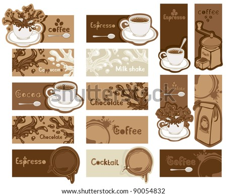 Different coffee banners - stock vector
