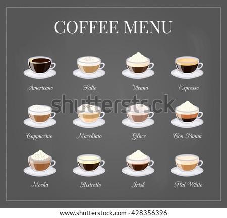 Different coffee drinks on chalkboard background with frame. Espresso, macchiato, chocolate, ristretto, mocha, irish, cocoa, frappe, glace, americano, latte, cappuccino. - stock vector