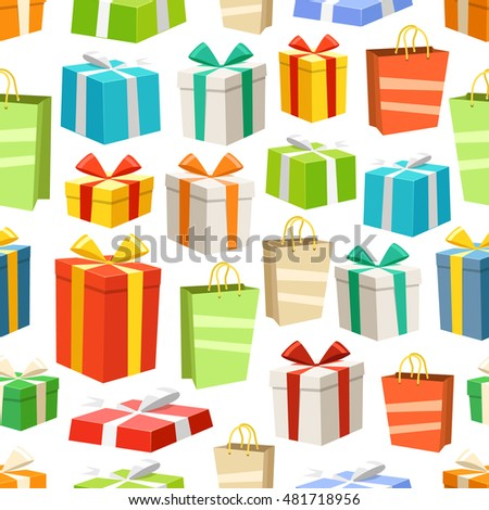 Different color gift boxes seamless pattern. Vector design elements