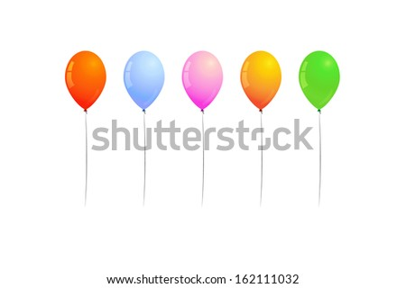 different color of inflated balloons, balloons for birthday party or celebration