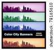 Different color options of banners on city theme - stock vector