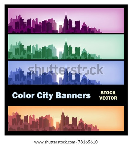 Different color options of banners on city theme
