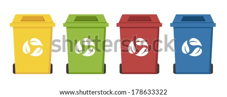 different color recycle bins - stock vector