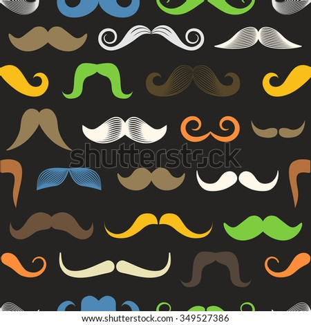 Different color retro style moustache seamless pattern - stock vector
