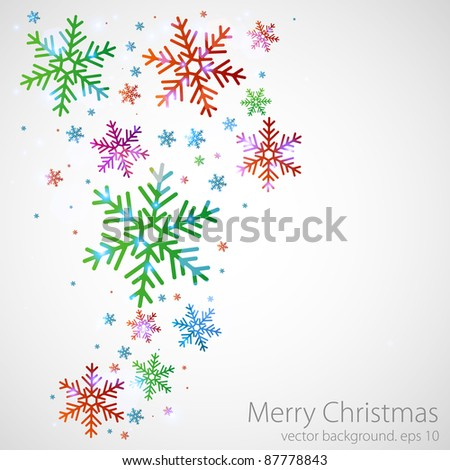 Different color snowflakes on a grey background. vector