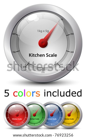 Different colored icons of kitchen scale. Vector - stock vector