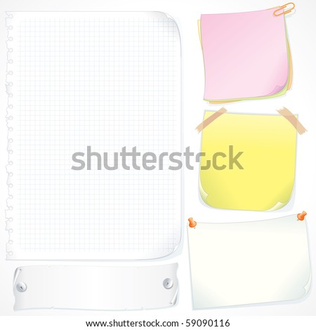Different Colored Paper Stickers, Notes and Reminders, vector collection for your text - stock vector