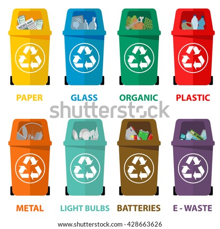 Different colored recycle waste bins vector illustration, Waste types segregation recycling  of Organic, batteries, metal plastic, paper, glass, e-waste, light bulbs. - stock vector