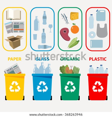 Different colored recycle waste bins, Waste types segregation recycling Organic, plastic, paper, glass waste. Vector illustration - stock vector
