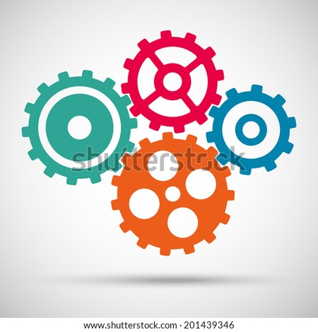 different colored toothed gears (cogs) is meshed on gray background. vector illustration eps10 - stock vector